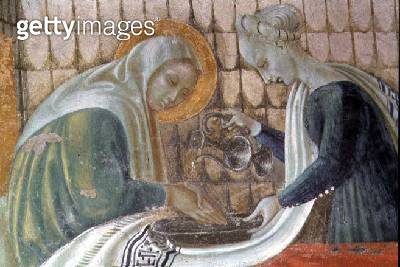 <b>Title</b> : The Nativity of the Virgin, detail depicting St. Anne washing her hands, from the Chapel of the Assumption, 1433-34 (fresco) (se<br><b>Medium</b> : fresco<br><b>Location</b> : Duomo, Prato, Italy<br> - gettyimageskorea