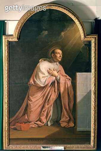 <b>Title</b> : St. Charles Borromeo (1538-84) (oil on canvas)<br><b>Medium</b> : oil on canvas<br><b>Location</b> : Musee des Beaux-Arts, Orleans, France<br> - gettyimageskorea