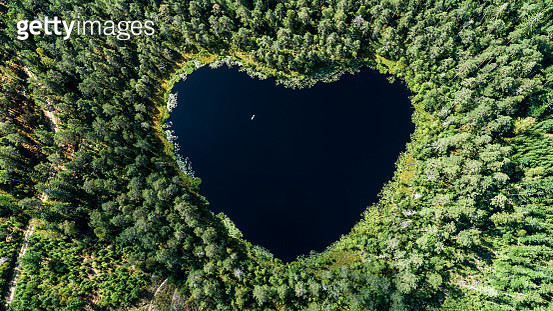 Aereal of heart shaped lake - gettyimageskorea
