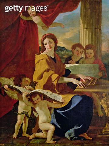 <b>Title</b> : St. Cecilia (oil on canvas)<br><b>Medium</b> : oil on canvas<br><b>Location</b> : Prado, Madrid, Spain<br> - gettyimageskorea