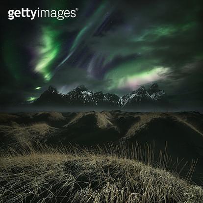 Northern lights over mountains, Vestrahorn, Iceland - gettyimageskorea