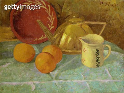<b>Title</b> : Still Life with Fruit and a Pitcher or Synchronization in Yellow, 1913<br><b>Medium</b> : oil on canvas<br><b>Location</b> : Galerie Daniel Malingue, Paris, France<br> - gettyimageskorea