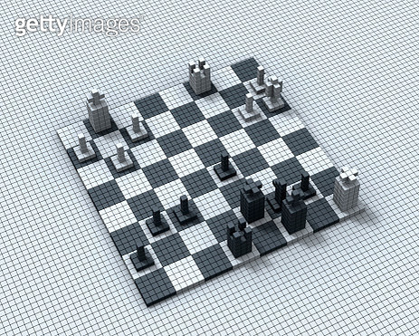 Chess board made of cubes, the black king is in checkmate - Digitally generated image - gettyimageskorea