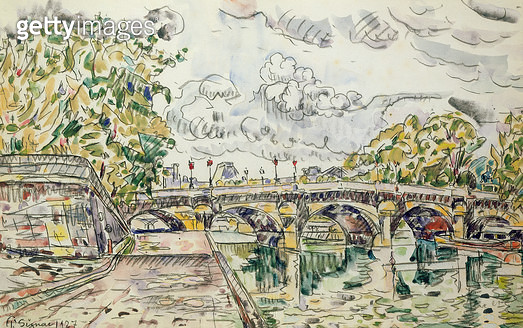 <b>Title</b> : The Pont Neuf, Paris, 1927 (w/c)<br><b>Medium</b> : watercolour on paper<br><b>Location</b> : Galerie Daniel Malingue, Paris, France<br> - gettyimageskorea