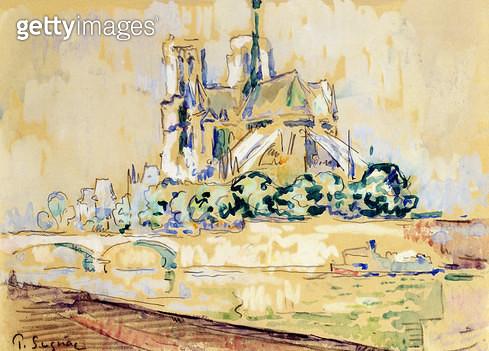 <b>Title</b> : Notre Dame, 1885 (w/c)<br><b>Medium</b> : watercolour on paper<br><b>Location</b> : Galerie Daniel Malingue, Paris, France<br> - gettyimageskorea