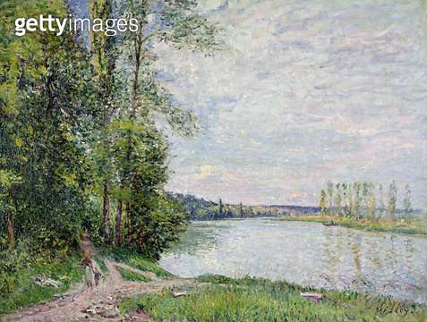 <b>Title</b> : The Riverside Road from Veneux to Thomery, 1880<br><b>Medium</b> : oil on canvas<br><b>Location</b> : Galerie Daniel Malingue, Paris, France<br> - gettyimageskorea