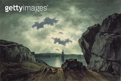 <b>Title</b> : Bay Scene in Moonlight, 1787 (w/c over pencil on paper)<br><b>Medium</b> : watercolour over pencil on paper<br><b>Location</b> : Yale Center for British Art, Paul Mellon Collection, USA<br> - gettyimageskorea