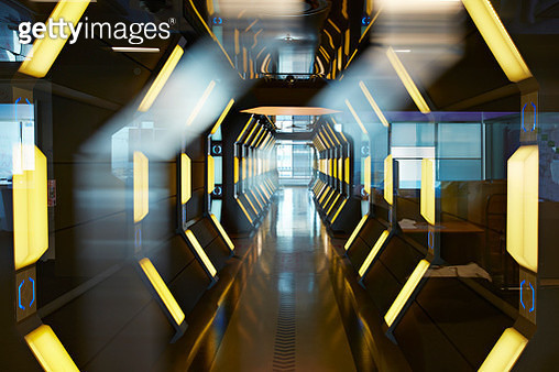 Interior shots of incredible high tech office, custom designed in futuristic spaceship style. - gettyimageskorea