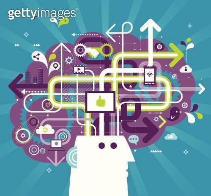 Vector illustration - Social Media Brain - gettyimageskorea