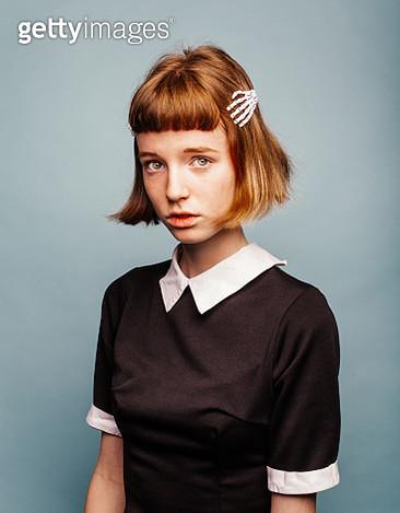 Portrait of young model in black dress - gettyimageskorea