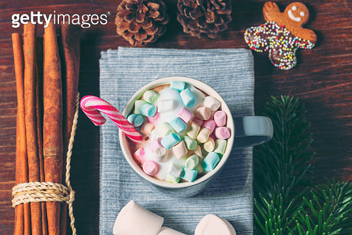 Marshmallows and Candy Cane in Cup of Hot Chocolate - gettyimageskorea