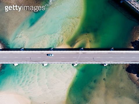 Aerial photograph of a coastal bridge in Tasmania, Australia - gettyimageskorea