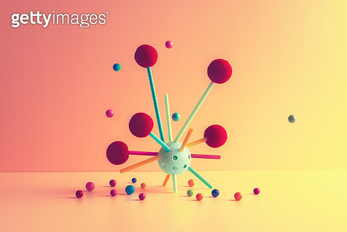 Abstract shape with marbles symbolizing molecules - gettyimageskorea