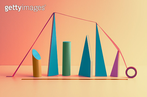 A tape covering blocks symbolizing a graph where the end i undetermined - gettyimageskorea
