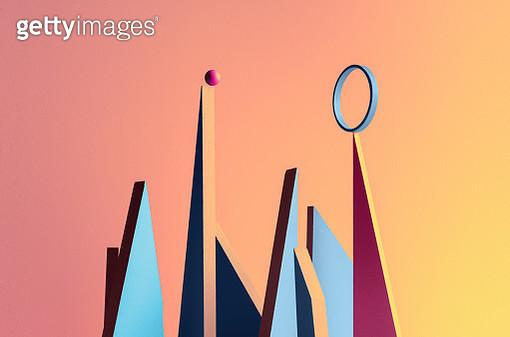 Abstract city skyline symbolizing risk, on the edge, balance, choice and pushing threw - gettyimageskorea