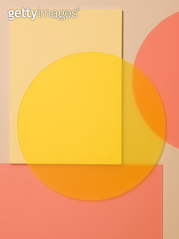 Abstract image made up of pastel colour painted surfaces and perspex circles - gettyimageskorea