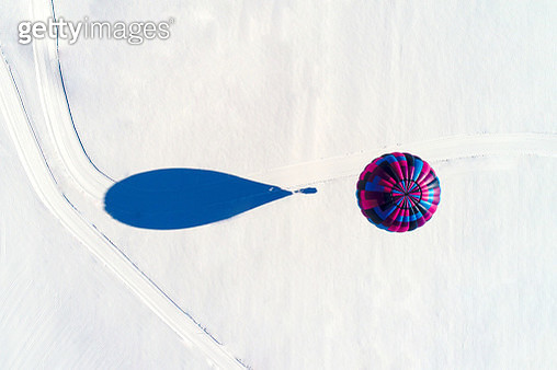 Hot Air Balloon Seen From Above - gettyimageskorea