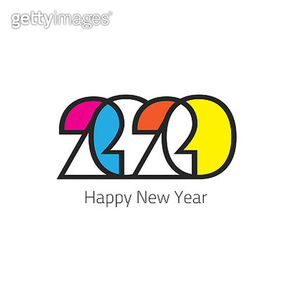 Abstract colorful Happy New Year 2020 Background for your Christmas. EPS 10 vector illustration, contains transparencies. High resolution jpeg file included. - gettyimageskorea