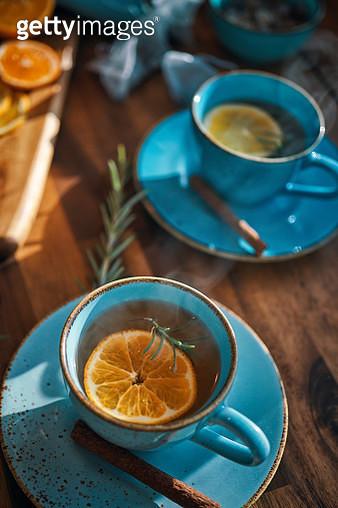 Hot Fruit Tea with Oranges and Cinnamon - gettyimageskorea