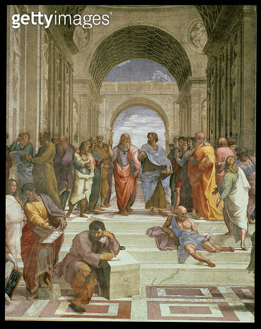 <b>Title</b> : School of Athens, detail of the centre showing Plato and Aristotle with students including Michelangelo and Diogenes, 1510-11 (f<br><b>Medium</b> : <br><b>Location</b> : Vatican Museums and Galleries, Vatican City, Italy<br> - gettyimageskorea