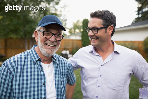 Portrait smiling senior father and son - gettyimageskorea