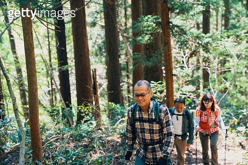 Two senior men and a mature women hiking together in a forest in Japan - gettyimageskorea