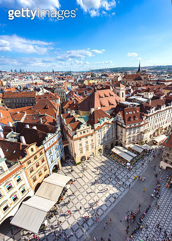 Prague old town square with old church and castle in shopping street where is the famous landmark for tourist in Prague, Czech Republic, Europe - gettyimageskorea