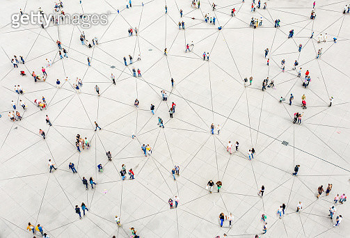 Aerial view of crowd connected by lines - gettyimageskorea