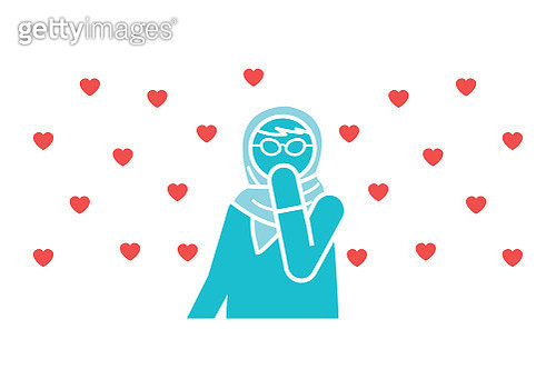 woman with love hearts - gettyimageskorea