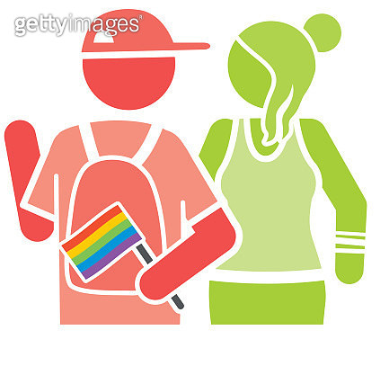 Male and Female at LGBTQ Pride - gettyimageskorea