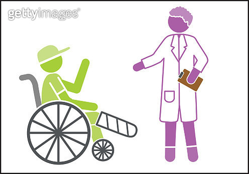 Doctor and boy in wheelchair with a broken leg - gettyimageskorea