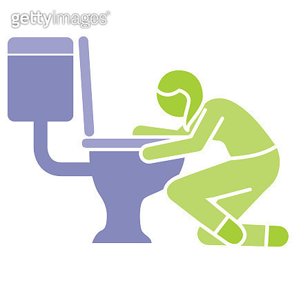 Sick woman and toilet - gettyimageskorea