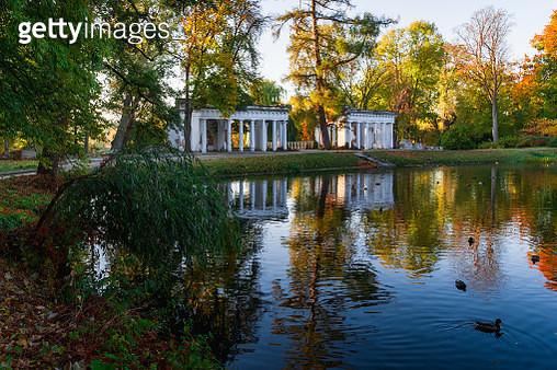 "Autumn landscape of Ruins over the lake at sunny morning in park. Architecture art of 19th century in the Arboretum Oleksandriya is a landscape park in Bila Tserkva of the Kiev Oblast of Ukraine""n - gettyimageskorea"