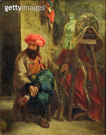<b>Title</b> : The Turk with a Saddle (oil on canvas)Additional InfoLe Turc a la Selle;<br><b>Medium</b> : oil on canvas<br><b>Location</b> : Louvre, Paris, France<br> - gettyimageskorea