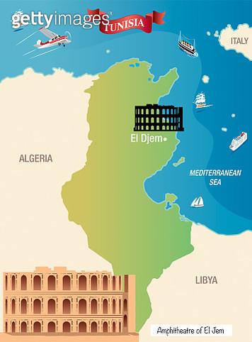 Tunisia Map - gettyimageskorea