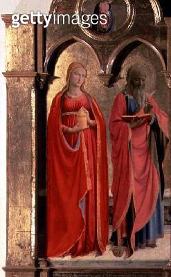 <b>Title</b> : Virgin and Child Enthroned with Four Angels, detail of St. John the Evangelist and Mary Magdalen, from the Polittico di San Dome<br><b>Medium</b> : <br><b>Location</b> : <br> - gettyimageskorea