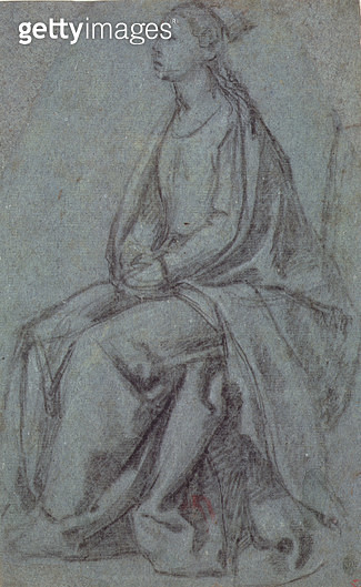 <b>Title</b> : Seated Woman, c.1514 (black & white chalk on blue-green paper)Additional Infopreparatory drawing for 'Preaching of St. Stephen',<br><b>Medium</b> : black and white chalk on blue-green paper<br><b>Location</b> : Private Collection<br> - gettyimageskorea
