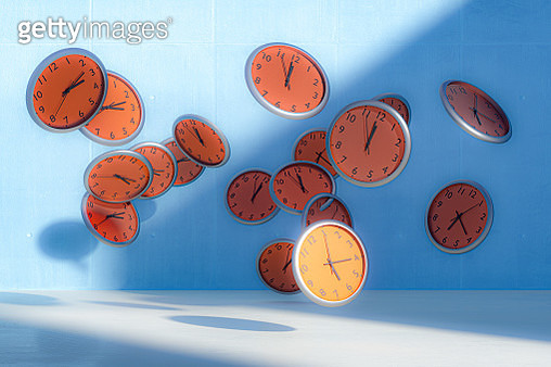 Flying clocks - gettyimageskorea