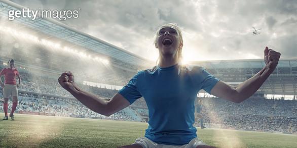 Womens Soccer Player Celebrating After Scoring - gettyimageskorea