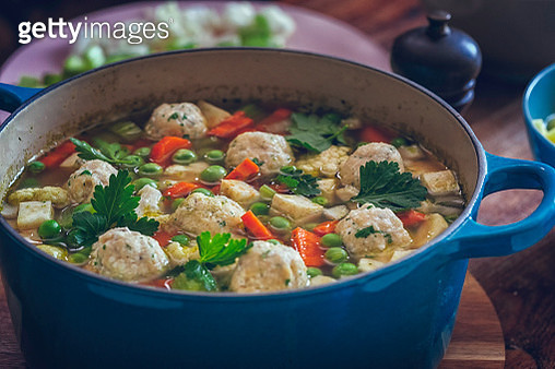 Minestrone Soup with Fresh Vegetables and Dumplings - gettyimageskorea