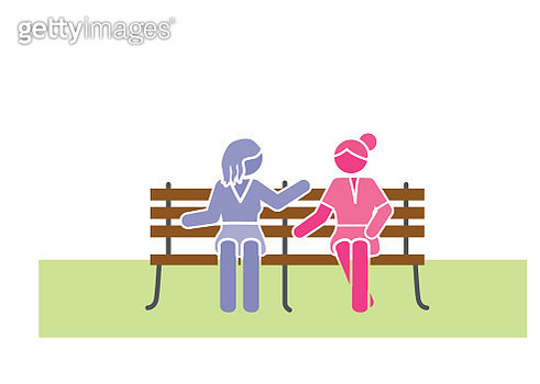 Two women sitting on bench - gettyimageskorea