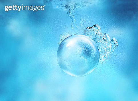 Conceptual image of a transparent sphere underwater - gettyimageskorea