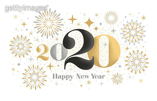 New year card design with exploding fireworks and textured effects. Fully editable vector. - gettyimageskorea