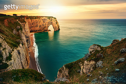 sunset in Etretat - gettyimageskorea