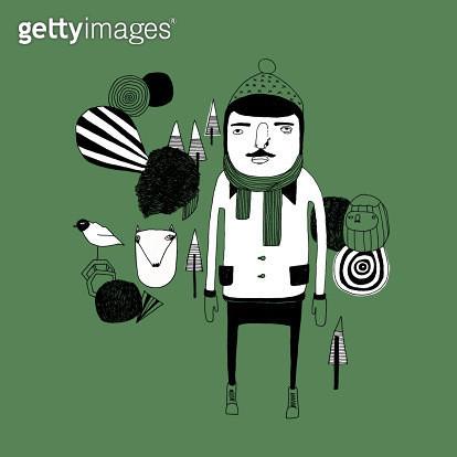 Illustration of totebag, man, woods, bird, nature, black/white. - gettyimageskorea
