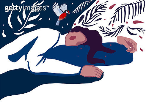 Romantic illustration of a sleeping young woman with rosy cheeks. - gettyimageskorea