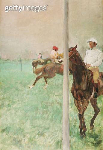 <b>Title</b> : Jockeys Before the Race, c.1878-79 (oil, essence, gouache & pastel)<br><b>Medium</b> : oil, essence, gouache and pastel on paper<br><b>Location</b> : The Barber Institute of Fine Arts, University of Birmingham<br> - gettyimageskorea