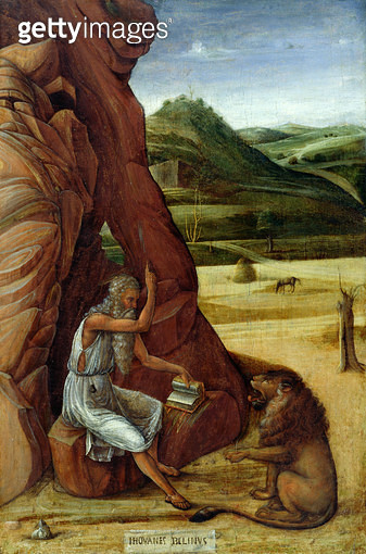 <b>Title</b> : St. Jerome in the Wilderness, c.1450 (tempera on panel)<br><b>Medium</b> : tempera on panel<br><b>Location</b> : The Barber Institute of Fine Arts, University of Birmingham<br> - gettyimageskorea