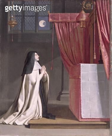 <b>Title</b> : The Vision of St. Juliana (1191/2-1258) of Mont Cornillon<br><b>Medium</b> : oil on canvas<br><b>Location</b> : The Barber Institute of Fine Arts, University of Birmingham<br> - gettyimageskorea
