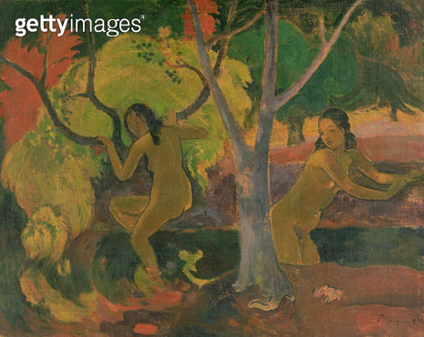 <b>Title</b> : Bathers at Tahiti, 1897 (oil on sacking)<br><b>Medium</b> : oil on sacking<br><b>Location</b> : The Barber Institute of Fine Arts, University of Birmingham<br> - gettyimageskorea